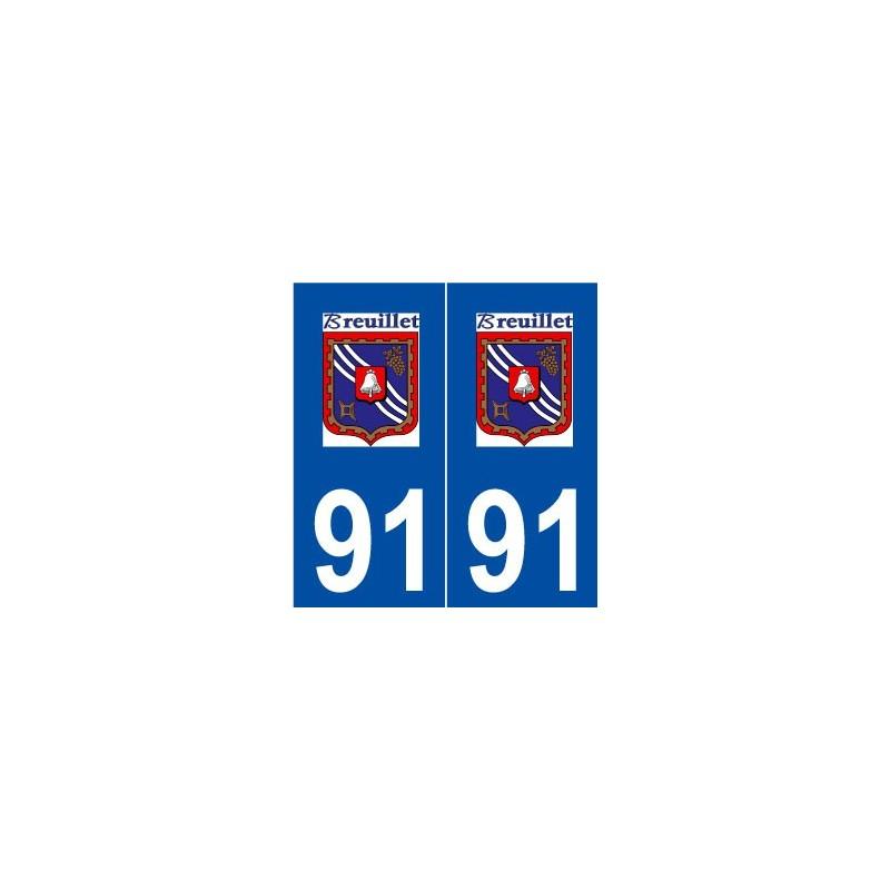 91 breuillet logo autocollant plaque immatriculation for Breuillet 91