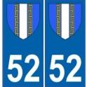 52 Haute-Marne autocollant plaque blason armoiries stickers département