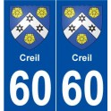 60 Creil coat of arms sticker plate stickers city