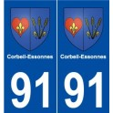 91 Corbeil-Essonnes coat of arms sticker plate stickers city