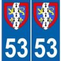 53 Mayenne autocollant plaque blason armoiries stickers département
