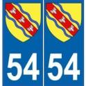 54 Meurthe autocollant plaque blason armoiries stickers département