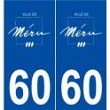 60 Méru logo autocollant plaque stickers ville