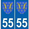 55 Meuse autocollant plaque blason armoiries stickers département