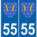 55 Meuse autocollant plaque blason armoiries stickers département