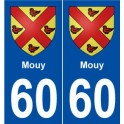 60 Mouys blason autocollant plaque stickers ville