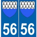 56 Morbihan autocollant plaque blason armoiries stickers département