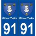 91 Gif-sur-Yvette blason autocollant plaque stickers ville