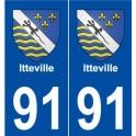 91 Itteville blason autocollant plaque stickers ville