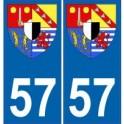 57 Moselle autocollant plaque blason armoiries stickers département