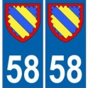 58 Nièvre autocollant plaque blason armoiries stickers département
