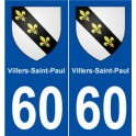 60 Villers-Saint-Paul coat of arms sticker plate stickers city