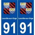 91 Leuville-sur-Orge coat of arms sticker plate stickers city