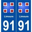 91 Limours blason autocollant plaque stickers ville