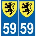 59 Nord autocollant plaque blason armoiries stickers département