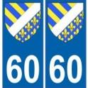 60 Oise autocollant plaque blason armoiries stickers département