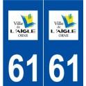 61 L'Aigle logo autocollant plaque stickers ville