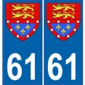 61 Orne autocollant plaque blason armoiries stickers département normandie