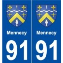 91 Mennecy coat of arms sticker plate stickers city