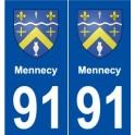 91 Mennecy blason autocollant plaque stickers ville