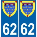 62 Pas-de-Calais autocollant plaque blason armoiries stickers département