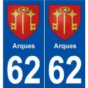 62 Arques coat of arms sticker plate stickers city