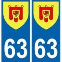 63 Puy de Dôme autocollant plaque blason armoiries stickers département