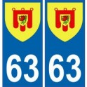 63 Puy de Dôme autocollant plaque blason armoiries stickers département