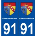91 Paray-Vieille-Poste blason autocollant plaque stickers ville
