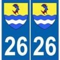 26 Drôme Autocollant plaque immatriculation département ville sticker auto