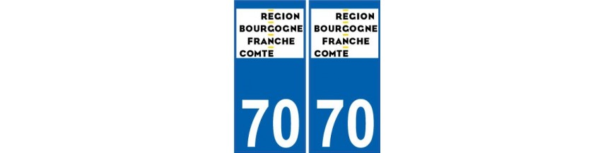 Autocollant plaque immatriculation d partement 70 haute for 70 haute saone