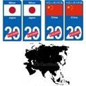 drapeau Asie pays plaque